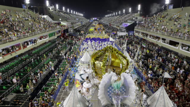 tl, ws, ha aerial view of carnival parade and crowds in sambadrome / rio de janeiro, brazil - 10 seconds or greater stock videos & royalty-free footage