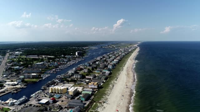 aerial view of carolina beach north carolina - carolina beach stock videos and b-roll footage