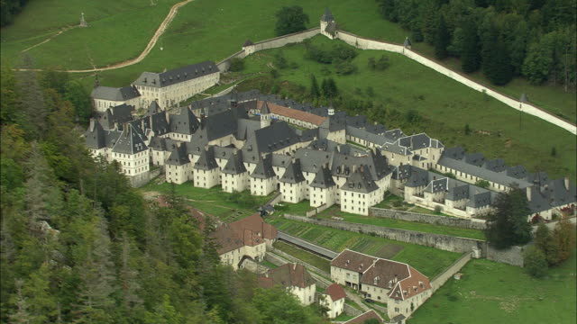 ws aerial view of cartesian monastery at chartreuse, rhone-alpes, france - rhone alpes stock videos & royalty-free footage