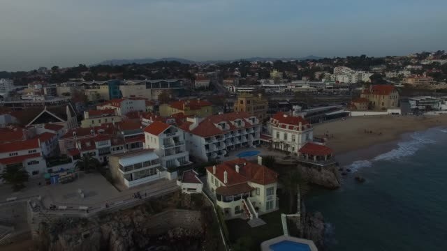 aerial view of cascais, portugal - cascais stock videos and b-roll footage