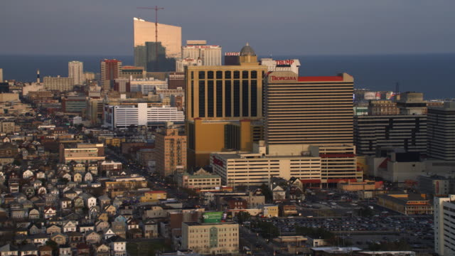 vídeos de stock, filmes e b-roll de aerial view of casinos and resorts in atlantic city, nj. shot in 2011. - artbeats