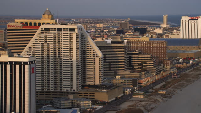 Aerial view of casinos and resorts in Atlantic City, NJ. Shot in 2011.
