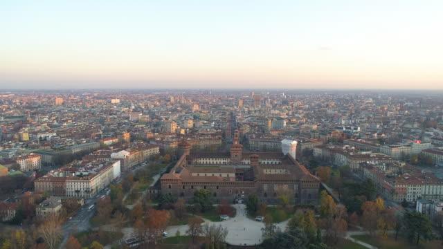 aerial view of castello sforzesco - milan. 4k - high street stock videos & royalty-free footage