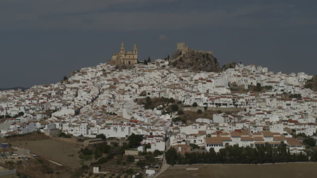 aerial view of castle and church in cityscape then trees in landscape / olvera, malaga, spain - cádiz stock videos and b-roll footage