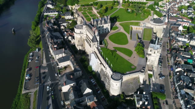 aerial view of castle of amboise - castle stock videos & royalty-free footage