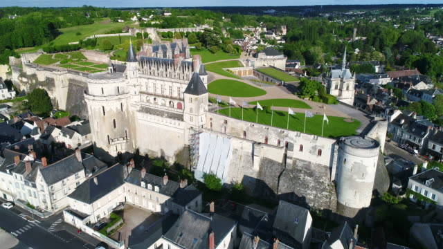 aerial view of castle of amboise - circa 15th century stock videos & royalty-free footage