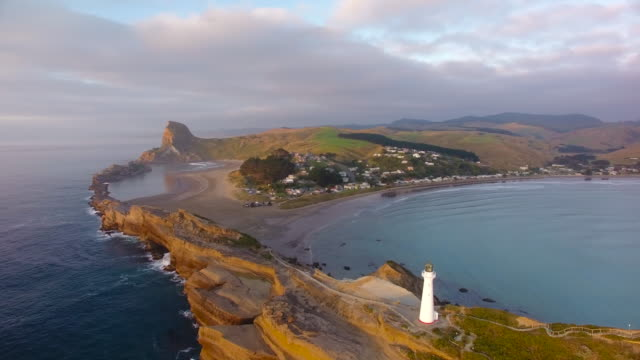 aerial view of castlepoint lighthouse. - wide screen stock videos and b-roll footage