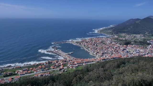 aerial view of castro of santa tecla on november 5 in galicia, spain.castro of santa trega is a galician fort and archaeological site located on the... - protection stock videos & royalty-free footage