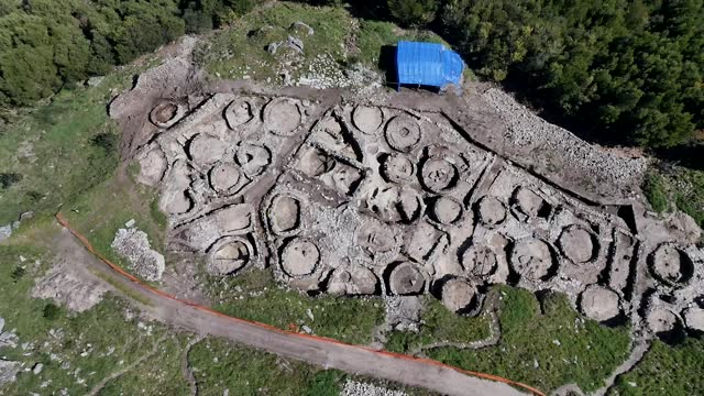 aerial view of castro of santa tecla on november 5 in galicia, spain.castro of santa trega is a galician fort and archaeological site located on the... - hill stock videos & royalty-free footage