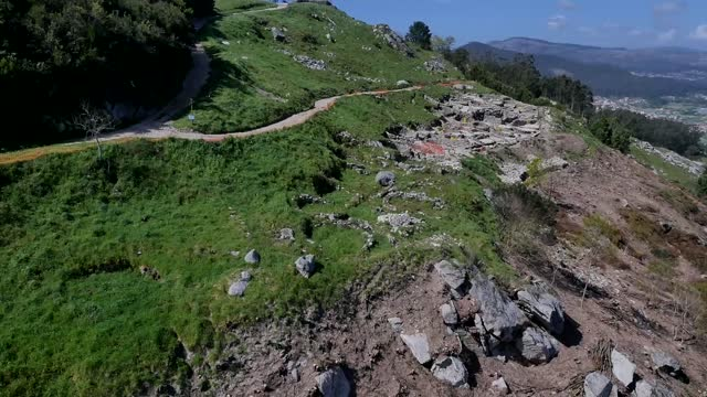 aerial view of castro of santa tecla on november 5 in galicia, spain.castro of santa trega is a galician fort and archaeological site located on the... - beauty in nature stock videos & royalty-free footage