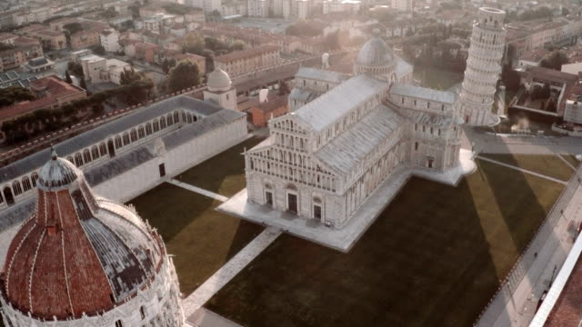 aerial view of cathedral and leaning tower of pisa - pisa cathedral stock videos & royalty-free footage