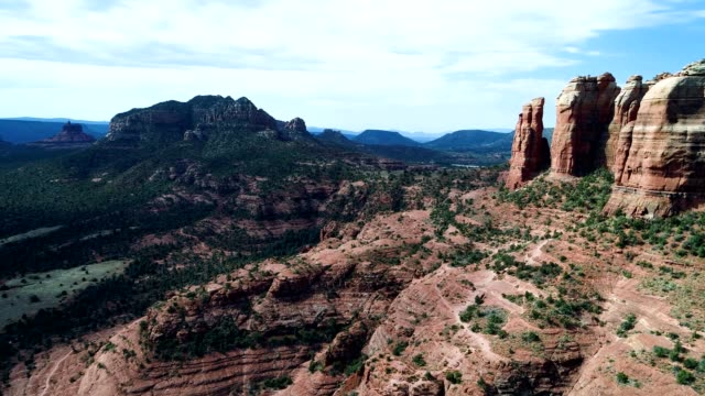 aerial view of cathedral rock and surrounding landscape in sedona arizona - sedona stock videos & royalty-free footage