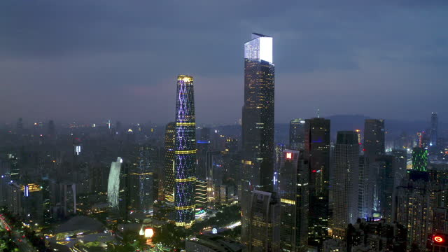 aerial view of cbd in guangzhou - liyao xie stock videos & royalty-free footage