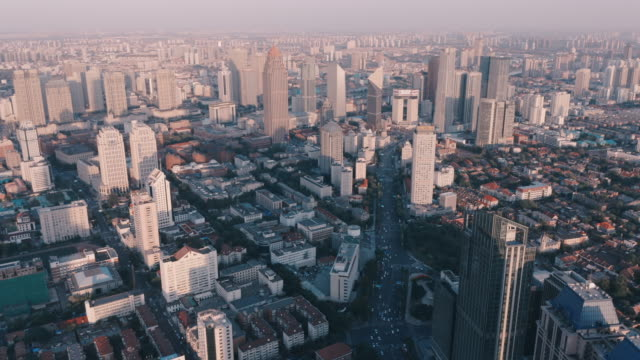 aerial view of cbd in tianjin - liyao xie stock videos & royalty-free footage