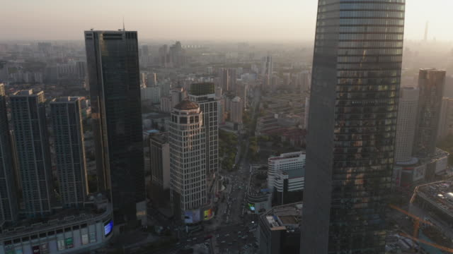 aerial view of cbd in tianjin - beijing stock videos & royalty-free footage
