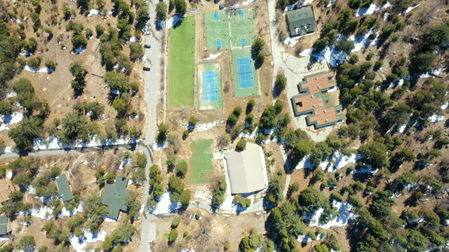 aerial view of cedu school in running springs california, a cultish behavior modification school that closed in 2005 - fame stock videos & royalty-free footage