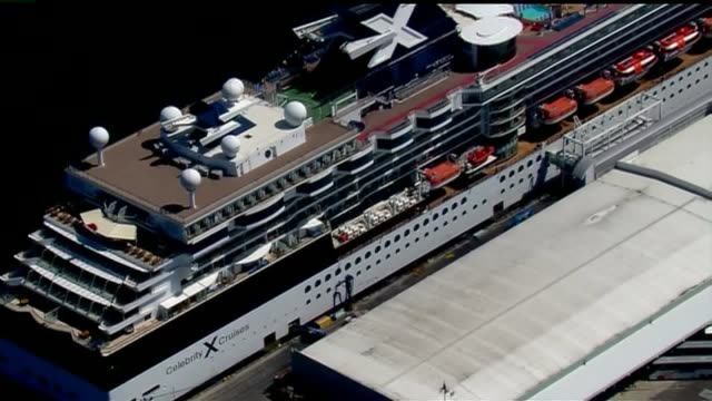 KSWB Aerial View Of Celebrity Infinity Cruise Ship on April 13 2015 For the second time this cruise ship carrying more than 100 ill passengers and...