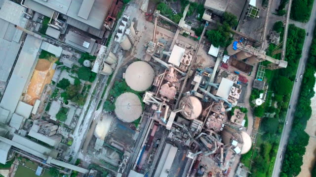 aerial view of cement factory - cement stock videos & royalty-free footage