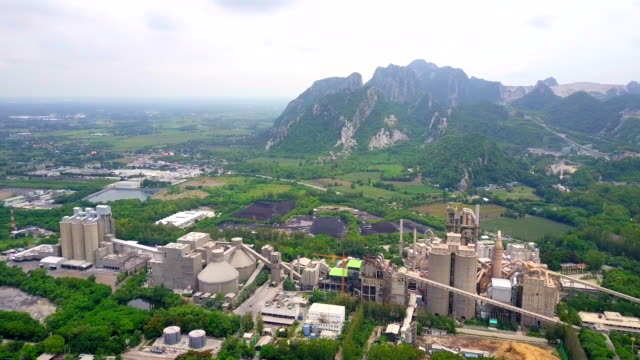 Aerial view of cement factory