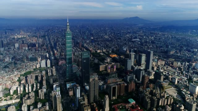 Aerial view of center of City Taipei, Taiwan