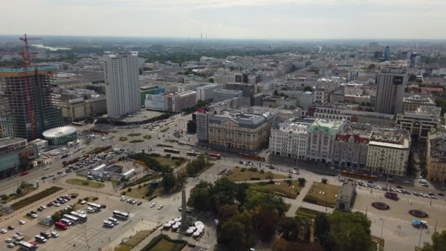 aerial view of center of warsaw, poland - warsaw stock videos & royalty-free footage