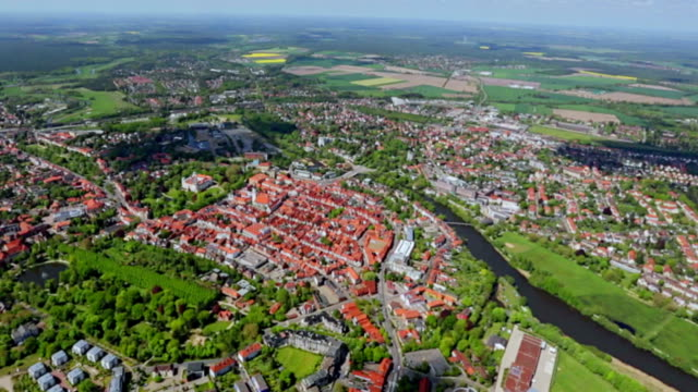 Aerial View of center town Celle , Lower Saxony , Germany