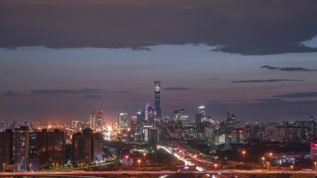 aerial view of central business district in the night on september 3, 2020 in beijing, china. - beijing stock videos & royalty-free footage