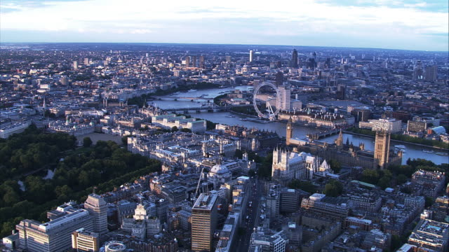 aerial view of central london and river thames. hd - big ben stock videos & royalty-free footage