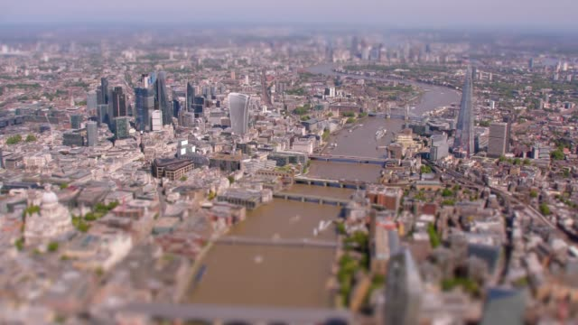 aerial view of central london and the river thames, uk. 4k - tower bridge stock videos & royalty-free footage