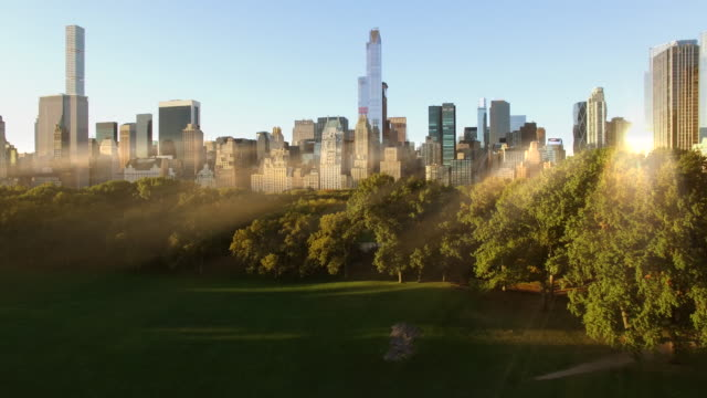 Aerial view of central park at sunrise light. new york city midtown skyline panorama