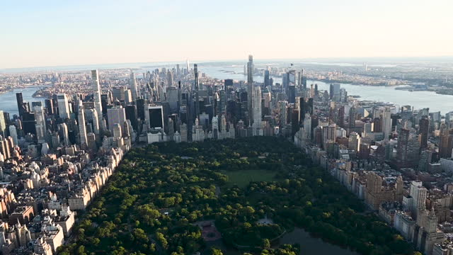 stockvideo's en b-roll-footage met aerial view of central park, in new york city, ny, u.s. on thursday, june 17, 2021. - central park manhattan