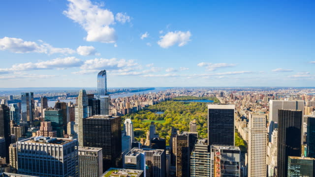 aerial view of central park, manhattan, new york city - helicopter point of view stock videos and b-roll footage