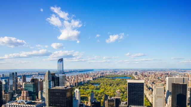 aerial view of central park, manhattan, new york city - upper west side manhattan stock videos and b-roll footage