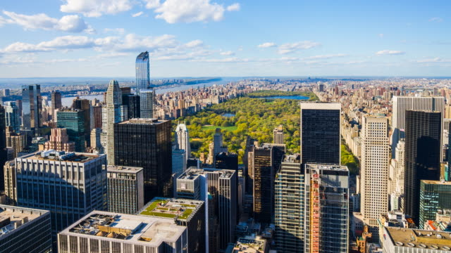 aerial view of central park, manhattan, new york city - central park manhattan stock videos & royalty-free footage
