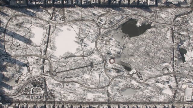 aerial view of central park zooming into wollman ice skating rink on a sunny winter day - 高い点の映像素材/bロール
