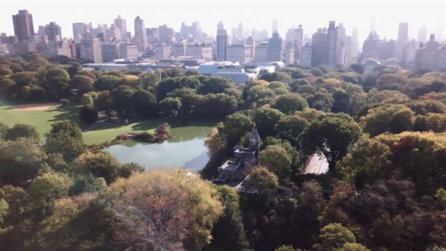 Aerial view of Central Park's Belvedere Castle.