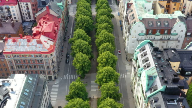 aerial view of central stockholm, apartment buildings, green streets - northern europe stock videos & royalty-free footage