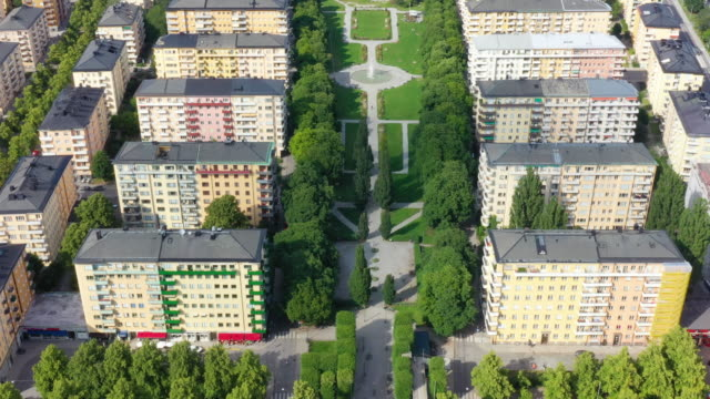 aerial view of central stockholm, apartment buildings, green streets - capital cities stock videos & royalty-free footage