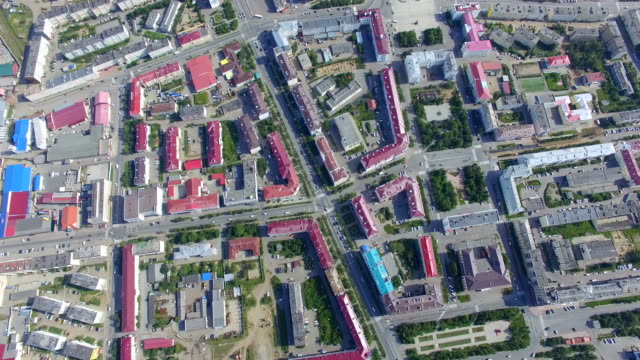 Aerial view of  central street,Magadan. Russia