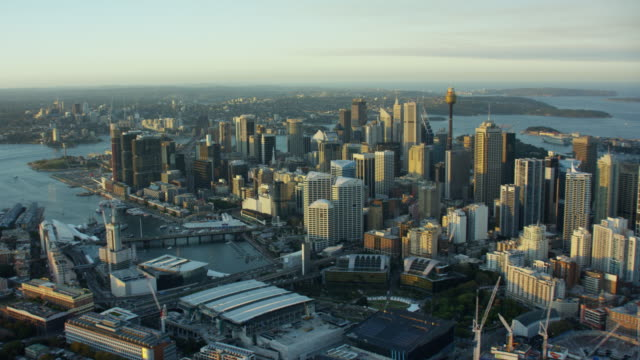 vídeos de stock, filmes e b-roll de aerial view of centrepoint tower and downtown skyscrapers - sydney australia