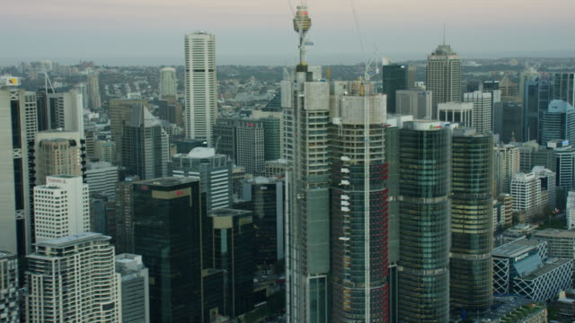 vídeos de stock, filmes e b-roll de aerial view of centrepoint tower downtown sydney - sydney australia