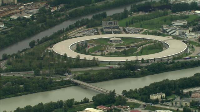 ws aerial view of cern in grenoble, rhone-alpes, france - grenoble stock-videos und b-roll-filmmaterial