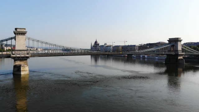 Aerial View of Chain Bridge and Parliament in Budapest