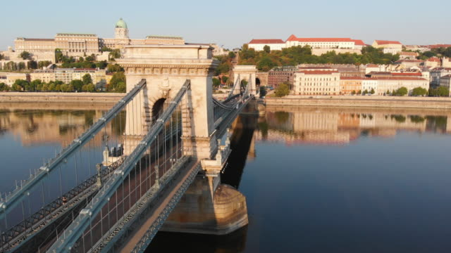 aerial view of chain bridge in budapest - chain bridge suspension bridge stock videos & royalty-free footage