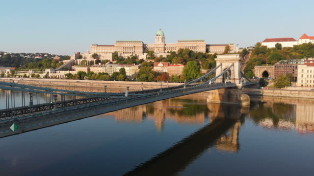 aerial view of chain bridge in budapest - eastern european culture stock videos & royalty-free footage