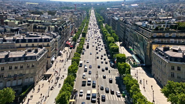 aerial view of champs elysées - avenue des champs elysees stock videos & royalty-free footage