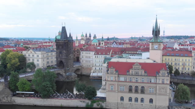 aerial view of charles bridge, prague - river vltava stock videos & royalty-free footage