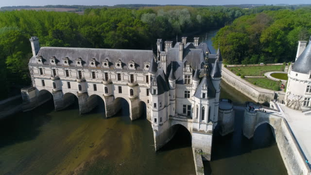 aerial view of chateau de chenonceau - castle stock videos & royalty-free footage