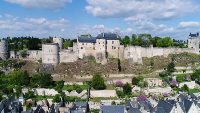 aerial view of chateau de chinon - schlossgebäude stock-videos und b-roll-filmmaterial