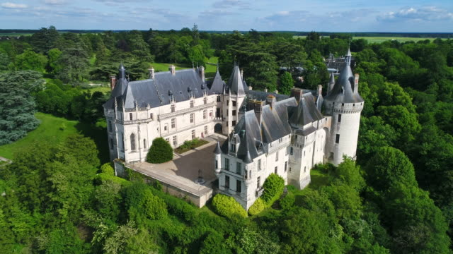 aerial view of chaumont sur loire castle - french culture stock videos & royalty-free footage